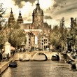 Beautiful Amsterdam canals - picture in retro style — Stock Photo #12768142
