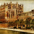 Stock Photo: Mallorca cathedral - vintage picture