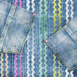 Foto Stock: Trendy jeans background with pockets