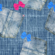 Royalty-Free Stock Photo: Funny jeans with bows - seamless background
