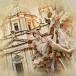 Great Rome artistic series - piazza Navona  — Stock Photo