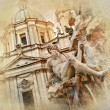 Great Rome artistic series - piazza Navona - Stock Photo