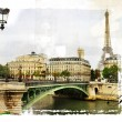 ������, ������: Parisian streets picture in vintage painting style