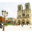 Vintage Parisian cards series -notredame cathedral  — Stock Photo
