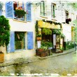 Streets of old Montmartre (Paris)- watercolor style  — Stock Photo