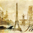 Foto Stock: Old beautiful Paris - artistic clip-art from my vintage series