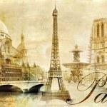 παλιά όμορφο Παρίσι - καλλιτεχνικές εικόνες clip-art από vintage σειρά μου — Φωτογραφία Αρχείου