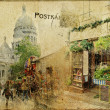 Vintage Parisian cards series - Montmartre street  — Stock Photo