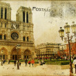 Vintage Parisian cards series -notredame cathedral — Stock Photo #12768809