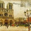 Stock Photo: Vintage Parisian cards series -notredame cathedral