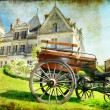 Medieval castle with carriage - vintage picture — Stock Photo