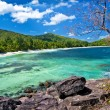 Seychelles islands, panoramic view of praslin' beach — Stock Photo