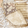 Vintage background with lace and paperboard — Stock Photo