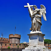 Greatest Roman landmarks -bridge with angels — Stock Photo
