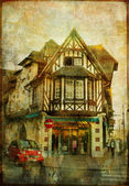 Pretty towns of Normandy - picture in retro style — Stock Photo