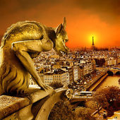Sundown on Paris - view from old Notre dame -artistic toned picture — Zdjęcie stockowe