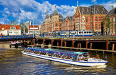 Beautiful Amsterdam - canals in downtown — Stock Photo