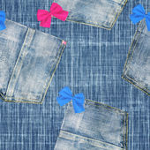 Legrační džíny s luky - bezešvé pozadí — Stock fotografie