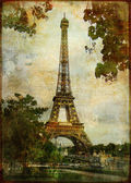 Heart of Paris - vintage card — Stock Photo