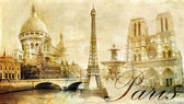 Old beautiful Paris - artistic clip-art from my vintage series — 图库照片