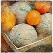 Vintage natura morta con frutta — Foto Stock