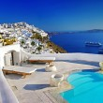 Romantic holidays - Santorini resorts — Stock Photo #12798604