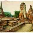 Old Ayutthaya - artwork in retro style — Stock Photo
