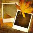 Vintage autumn background with old photo frames - Stock Photo