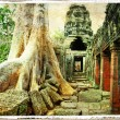 Ancient Cambodian temple - artwork in retro style - Stock Photo
