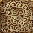Vintage brown background with golden patterns - Zdjcie stockowe