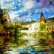 Old Belgium channel - picture on painting style - Stock Photo