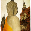 Buddha' statues in ancient Ayutthaya -retro styled picture — Stock Photo