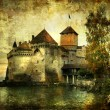 Royalty-Free Stock Photo: Mysterious castle on the lake - artwork in painting style