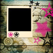 Trendy background in disco style with instant photo frame — Stock Photo
