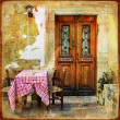 Pictorial old greek streets with tavernas - retro styled picture — Stock Photo #12796064