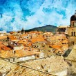 Ancient Dubrovnik -artwork in painting style — Stock Photo