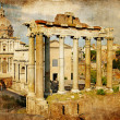 Roman forums - picture in retro style - Stock Photo