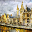 Gothic Belgium - artwork in painting style — Foto de Stock