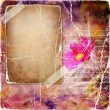 Vintage background in pink colors with blank page and flower — Stock Photo