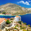 Islands of Greece - Kastelorizo with beautiful view of bay and church - Stock Photo