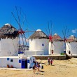 Stock Photo: Windmills of sunny Mykonos (Greece, Cyclades)