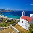 Beautiful view with small church on Mykonos island, Greece — Stock Photo #12797175