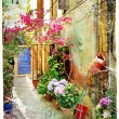 Stock Photo: Pictorial courtyards of Greece- artwork in retro painting style