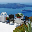 View of volcano - beautiful Thira town (Santorini) — Stock Photo