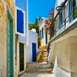 Pretty colored streets of greek islands — Stock Photo