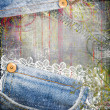 Vintage background from jeans and lace — Stock Photo