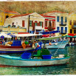 Stock Photo: Pictorial small harbors of greek islands-artwork in painting style