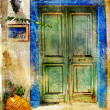 Stock Photo: Pictorial details of Greece - old door - retro styled picture