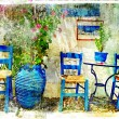 Stock Photo: Pictorial details of Greece - old chairs in taverna- retro styled picture