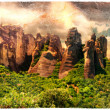 Miraculous rocks of Meteora - Greece,artistic picture — Stockfoto